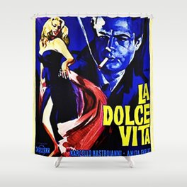 Vintage 1960 Fellini Lithograph Movie Poster Wall Art Shower Curtain