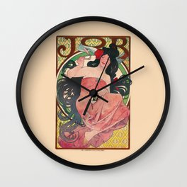 Alphonse Mucha Job Rolling Papers Art Nouveau Woman Wall Clock