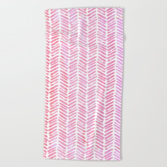 Handpainted Chevron pattern-small- pink watercolor on white Beach Towel