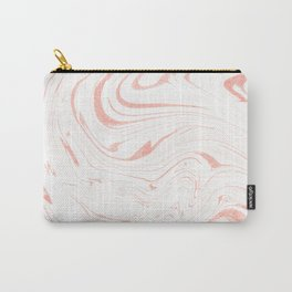 Rose Gold Marble Ink Swirl Carry-All Pouch