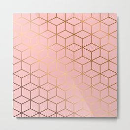 Pink and Gold Geometry 011 Metal Print
