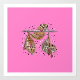 Possum trio on a branch - Pink Art Print