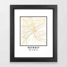 DETROIT MICHIGAN CITY STREET MAP ART Framed Art Print