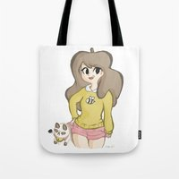 bee and puppycat Tote Bags featuring Bee and Puppycat by Lyndie Witt