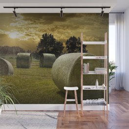 Farm Field with Hay Bales at Sunrise in West Michigan Wall Mural