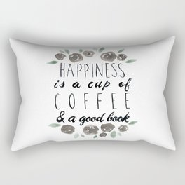 Happiness is a Cup of Coffee and a Good Book Rectangular Pillow