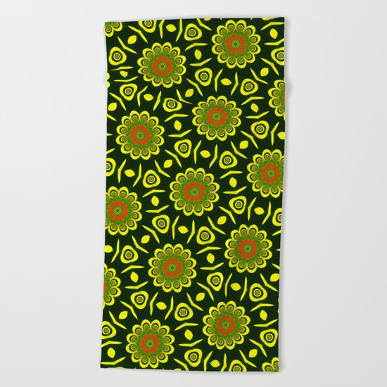 Cute ethnic floral pattern Beach Towel