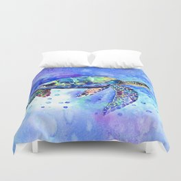 Sea Turtle, Underwater Scene Duvet Cover