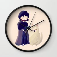 thrones Wall Clocks featuring Night Gathers by Nan Lawson
