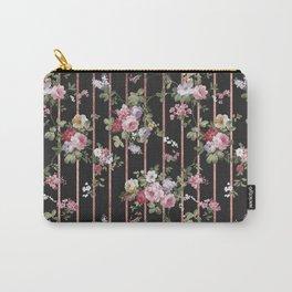 Elegant faux rose gold black stripes vintage blush pink lavender floral Carry-All Pouch