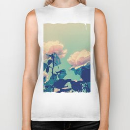 Soft Baby Pink Roses with Mint Blue Sky Backgroud Biker Tank