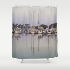 Sail Boats and Reflections in the Harbor Shower Curtain