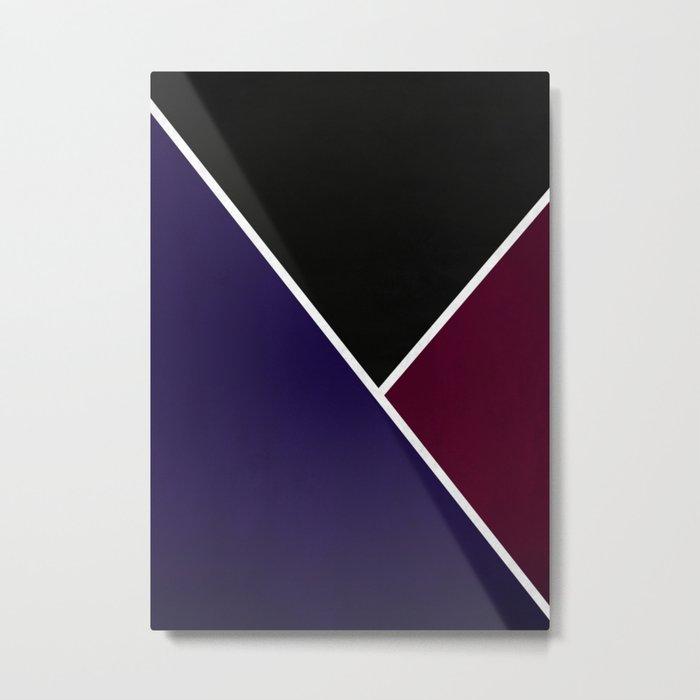 Noir Series - Deep Navy & Red Metal Print