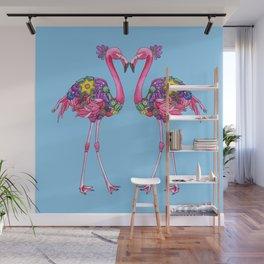 Fancy Felicity Flamingo (Blue) Wall Mural