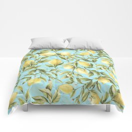 mediterranean summer lemon branches on turquoise Comforters