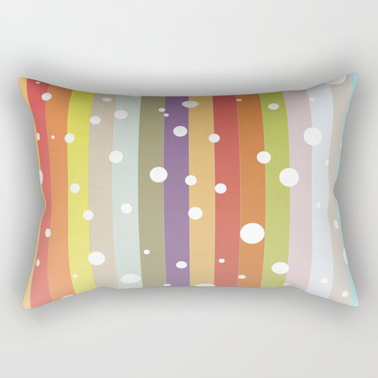 Snow falls on the rainbow Rectangular Pillow