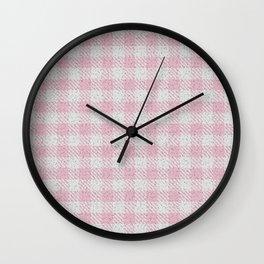 Light Pink Buffalo Plaid Wall Clock