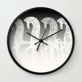 Horses in line - black and white - #society6 #buyart Wall Clock