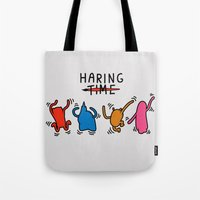 keith haring Tote Bags featuring Haring Time2 by le.duc