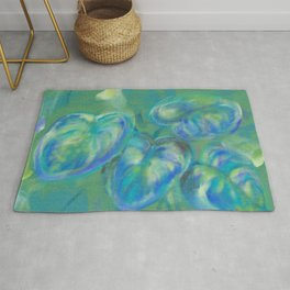 Green and White Spring Leaves Rug