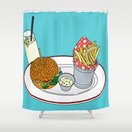 Burger, Chips and Lemonade Shower Curtain