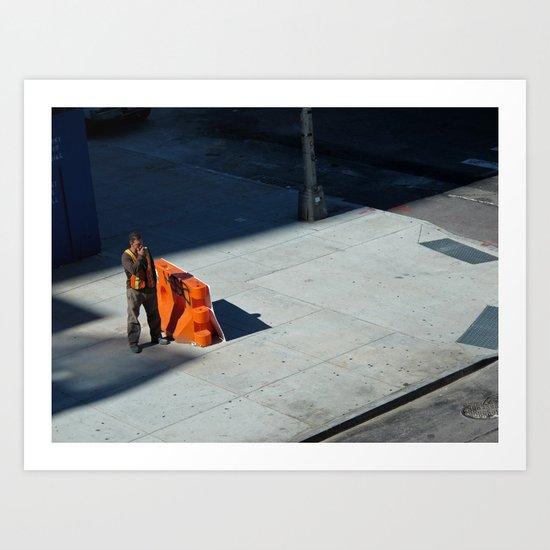 Smoking Construction Worker Art Print