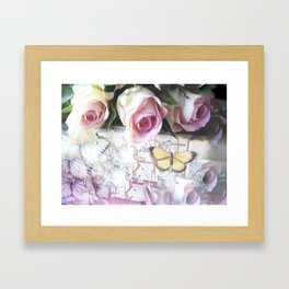 Roses And Butterflies Framed Art Print