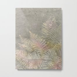 Fossil Rose Gold Fern on Brushed Stone Metal Print