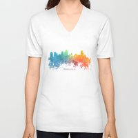 minneapolis V-neck T-shirts featuring Skyline Minneapolis colored by jbjart
