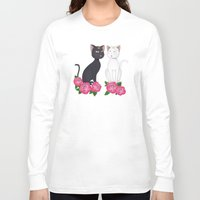 anime Long Sleeve T-shirts featuring Anime Cats by MyimagesArt
