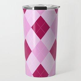 Pink Argyle Pattern Travel Mug