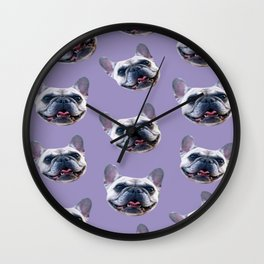light purple dog pattern cute puppy french bulldog Wall Clock