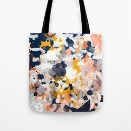 Stella II - Abstract painting in modern fresh colors navy, orange, pink, cream, white, and gold Tote Bag