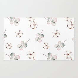 Watercolor cute cotton pattern Rug