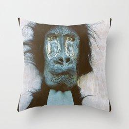 Blue Baboon Throw Pillow