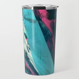 Wild [7]: a bold, colorful abstract mixed-media piece in teal, orange, neon blue, pink and white Travel Mug