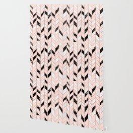 Rose gold glitter chevron herringbone black white marble pattern Wallpaper