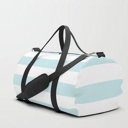 Duck Egg Pale Aqua Blue and White Wide Horizontal Cabana Tent Stripe Duffle Bag