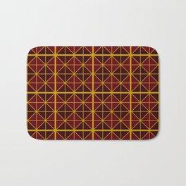 Gold and Burgundy Triangular Pattern Bath Mat