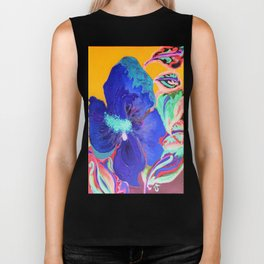 Birthday Acrylic Blue Orange Hibiscus Flower Painting with Red and Green Leaves Biker Tank