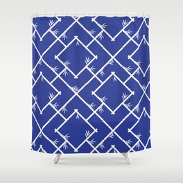 Bamboo Chinoiserie Lattice in Blue + White Shower Curtain