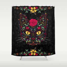Day Of The Dead Kitty Cat Sugar Skull Shower Curtain