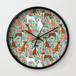 Boxer dog breed florals mint pastel turquoise cute pet portrait animal fur baby must have gifts  Wall Clock