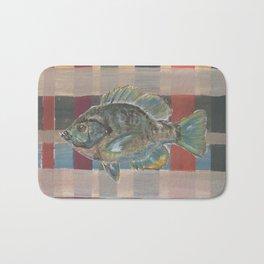 Bluegill on Earth Tone Plaid Bath Mat