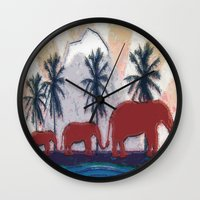 elephants Wall Clocks featuring Elephants by LoRo  Art & Pictures