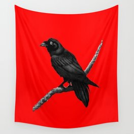 Decorative Chinese Red Black Crow Design Wall Tapestry