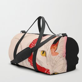 Shotei Takahashi White Cat In Red Outfit Black Background Vintage Japanese Woodblock Print Duffle Bag
