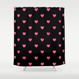 Pink Peppermint Glitter Heart Pattern Shower Curtain