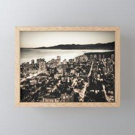Voyeuristic 1378 Vancouver Cityscape English Bay Twilight Framed Mini Art Print