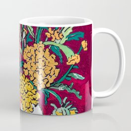 Marigold, Daisy and Wildflower Bouquet Fall Floral Still Life Painting on Eggplant Purple Coffee Mug